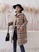 一件代发新款牛角扣双面尼羊绒大衣中长款呢外套时尚格子女装