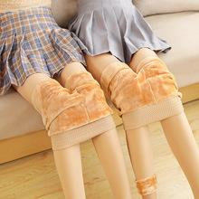 光腿神器加长高个子秋冬加绒加厚肤色打底裤女踩脚连袜肉色裸感