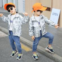 男童外套2019新款秋季儿童亮面高领夹克薄款中小童上衣宝宝童装潮