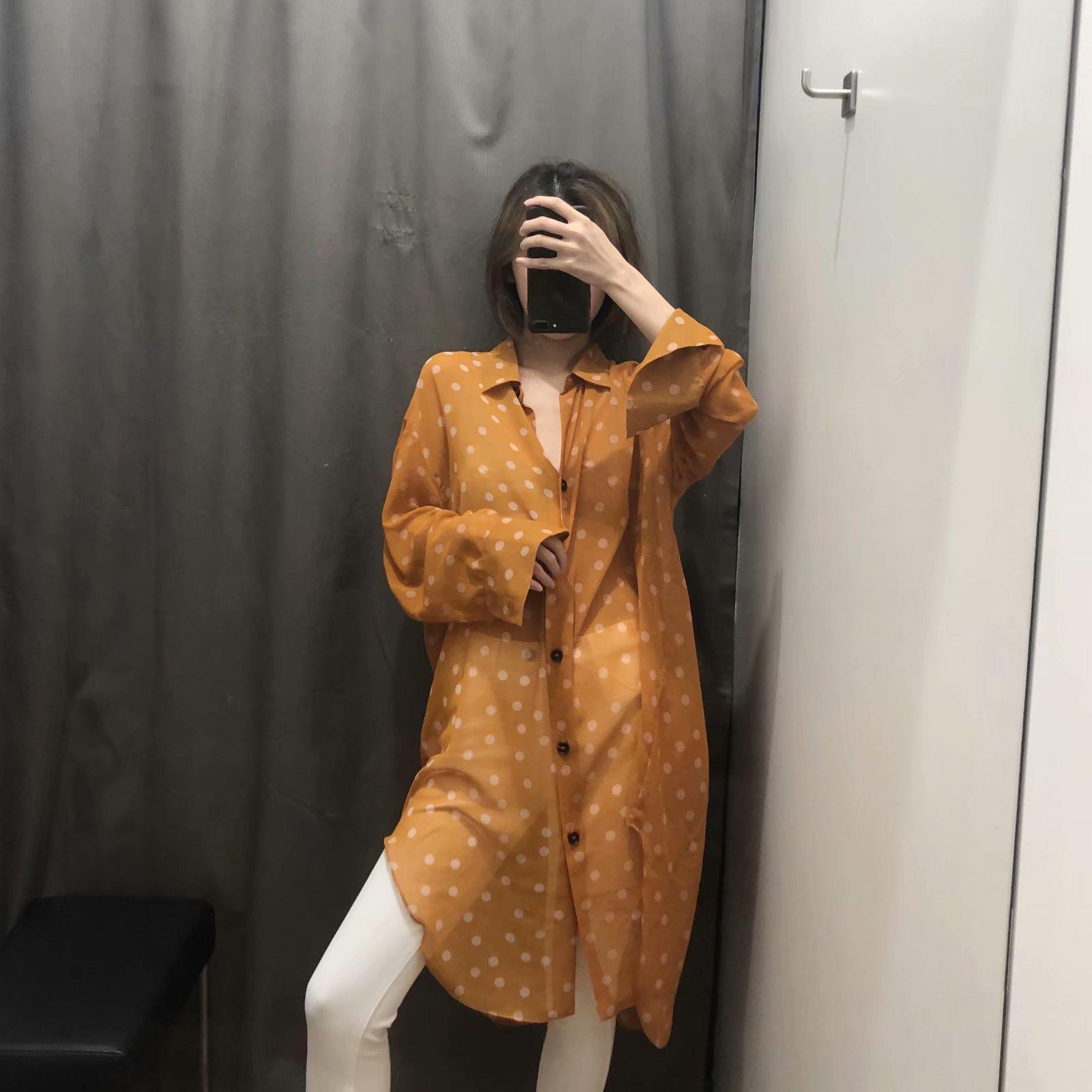 欧美批发2019夏季圆点印花女式中长款雪纺衬衫N8-23103