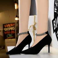 6839-a1 European and American Style Sexy nightclub show thin banquet women's shoes thin heel high heel V-shaped mouth water diamond one word belt single shoes