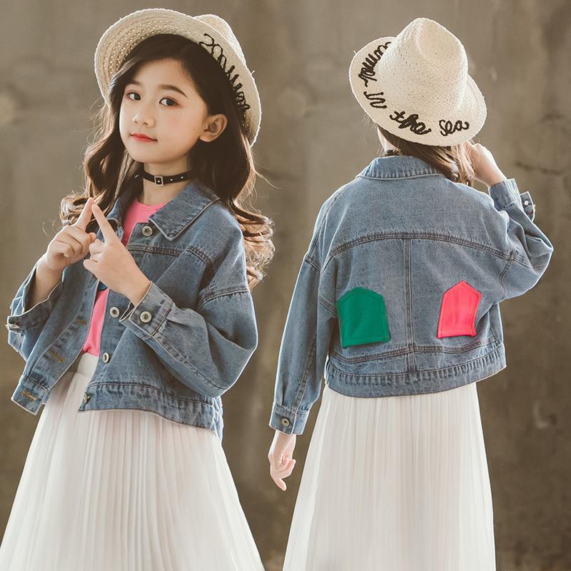2019春季新款中大童韩版外套女童洋气牛仔衣儿童春装时尚牛仔外套