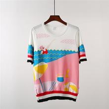 夏日海邊度假風提花粉色撞色短袖上衣側邊紐扣冰絲針織衫T恤女