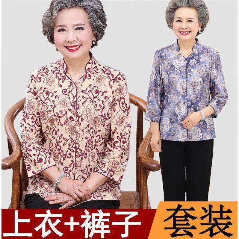 百搭夏装女岁妈妈装中袖上衣老人奶奶装春装裤夏款棉恤女加绒