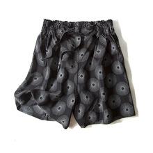 夏季高腰短裤复古印花真丝裤子桑蚕丝时尚宽松阔腿裤百搭新款女装