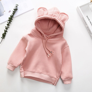 Autumn and winter hot style boys and girls sweater cute Mickey mouse ears hooded sweater warm and velvet baby top