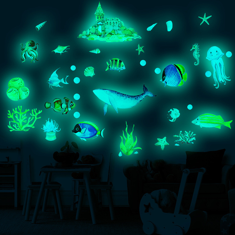 YGP luminous underwater world ocean fish shark cartoon wall sticker fluorescent sticker children's room decoration sticker