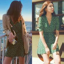 现货代发 明星同款绿色波点雪纺连衣裙夏2019新款女装韩版仙女裙