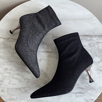 202-5 in Europe and the fall and winter quickly new sequins documentary shoes pointed high heel side with short boots boots