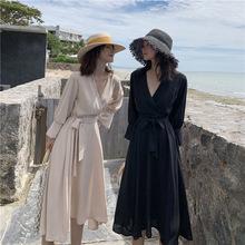 V領連衣裙女長袖黑色2019秋季新款韓版氣質修身高腰系帶長裙女潮