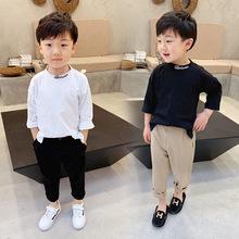 韩国儿童装长袖t恤2019新款?#20449;?#23453;宝字母刺绣圆领纯棉长袖套头衫