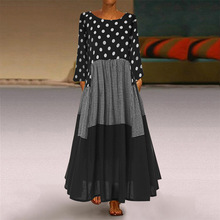 2020春季女装新款 圆领红色波点连衣裙 大码长裙一件代发女装现货