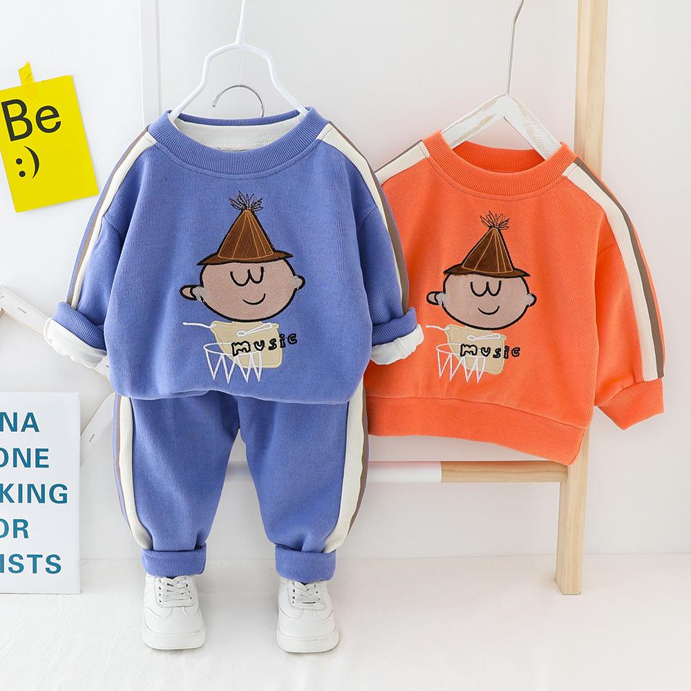 儿童春季新款套装代发小童韩版男童女童卡通卫衣裤子两件套装1253