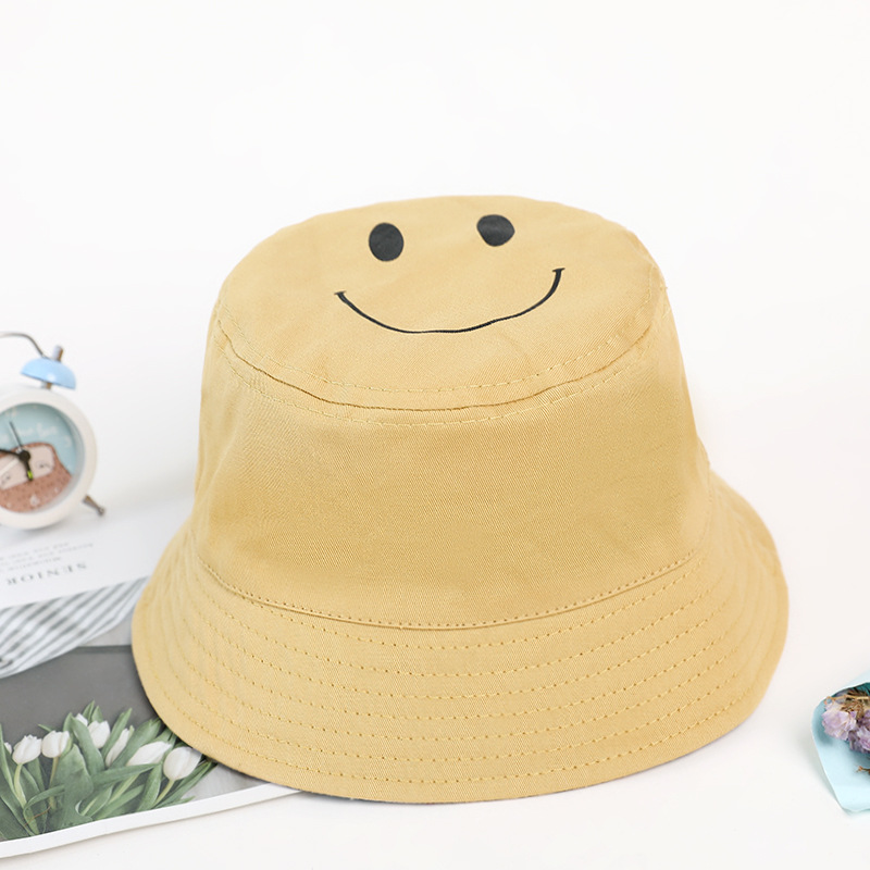 Double-sided cute cartoon smiley fisherman hat visor sun protection cap NHXB135265