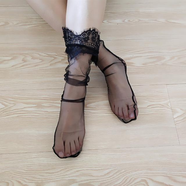 仙女网纱透明中筒袜堆堆袜百搭网眼透气蕾丝花边袜子雪纺网格厂家