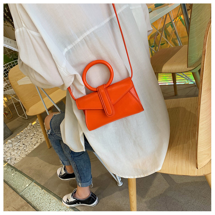 Fashion portable solid color PU single shoulder diagonal small square bag NHPB125188