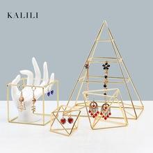 金色展示架幾何立方體耳環架金屬飾品架櫥窗柜臺陳列