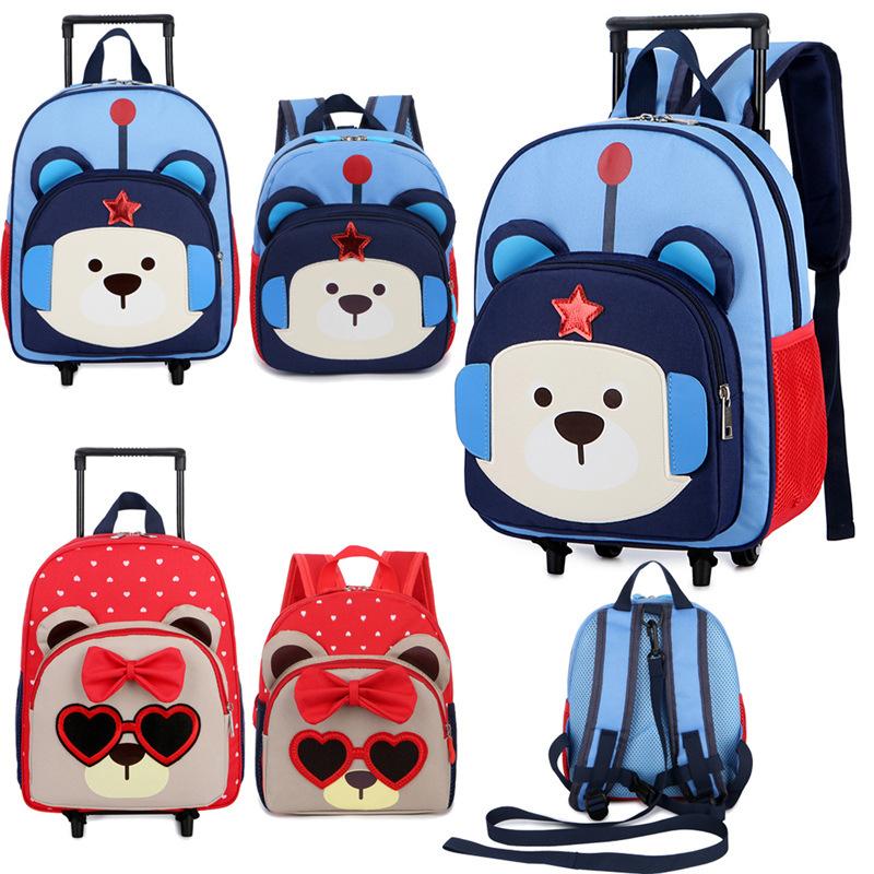 定制logo小学生书包拉杆新款幼儿园防走失小书包?#20449;?#31461;卡通双