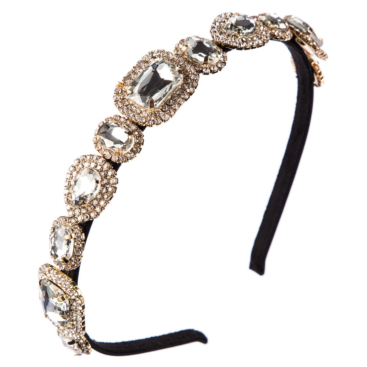 Alloy diamond super flash glass drill rhinestone headband female fashion dinner NHJE179608