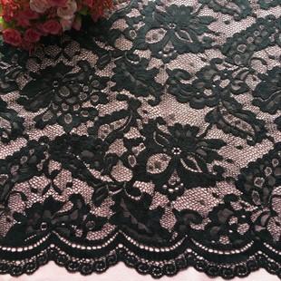 厂家直销锦氨弹力蕾丝面料 波浪边黑色蕾丝布料 时尚女装提花面料