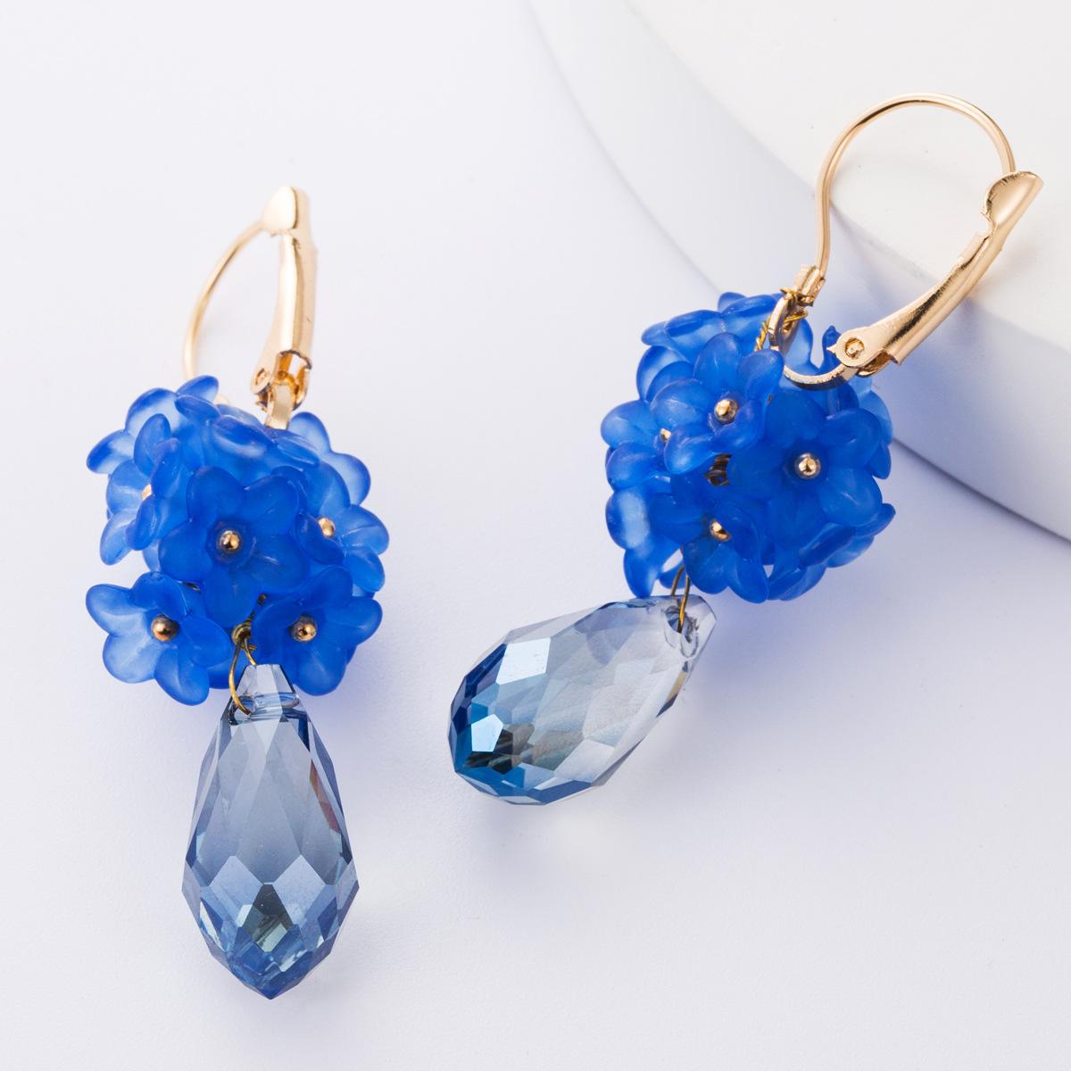 Resin flower drop-shaped acrylic earrings earrings female earrings NHJE177430