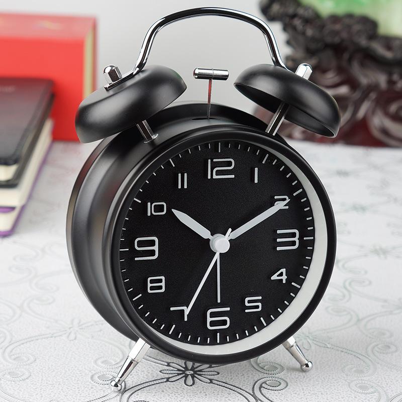 静音家居时尚创意时钟懒人机械打铃钟表金属夜光学生儿童闹钟4寸