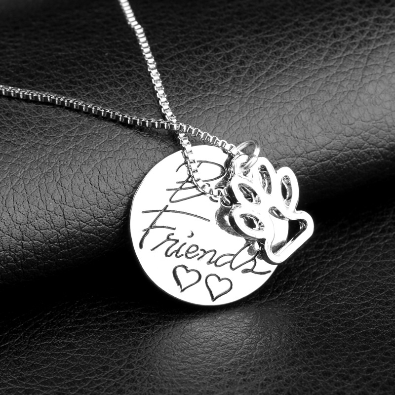 Explosion Necklace Creative Good Friends Necklace Best Friends Round Love Dog Claw Pendant Necklace wholesale nihaojewelry  NHMO219021