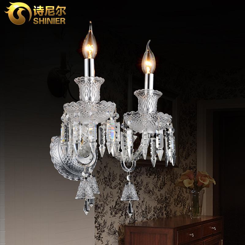 欧式led水晶壁灯现代简约卧室床头灯美式过道客厅背景墙壁蜡烛灯