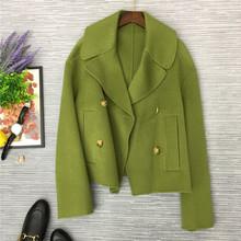 2019欧美秋季新款简约时髦女士翻领大衣高品质女士保暖羊毛短外套