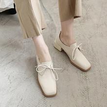2019春季新款英伦风系带单鞋女中跟复古乐福鞋百搭粗跟牛津小皮鞋