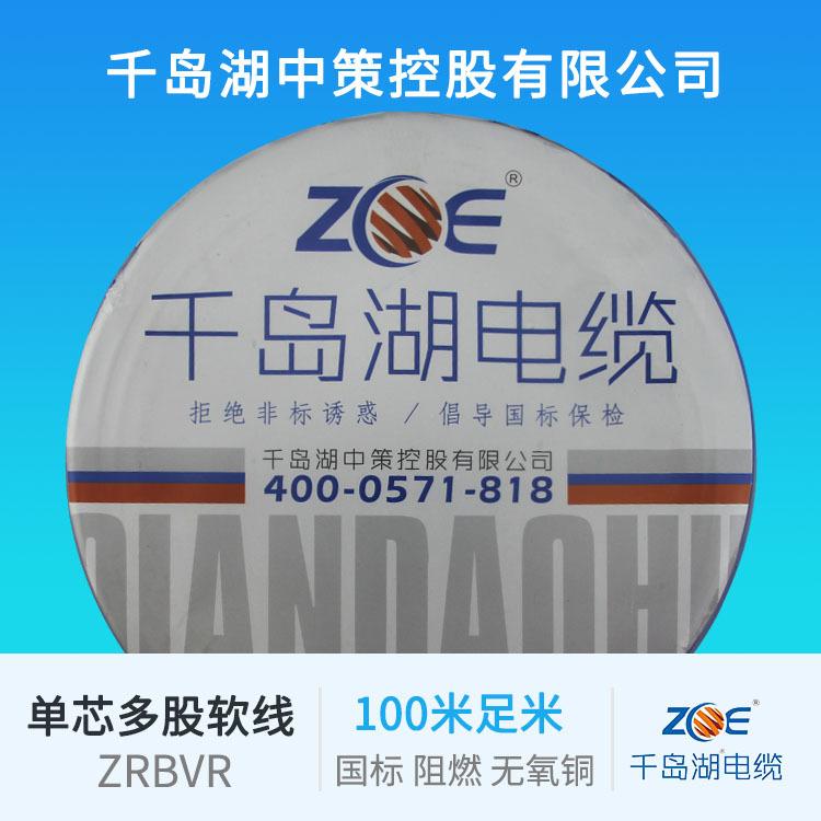 千岛湖中策控股有限公司 厂家直销 国标阻燃BVR 单芯多股软铜电线