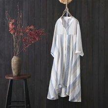 夏季新款中長防曬衣女寬松顯瘦立領寬條紋中袖外套空調衫外搭開衫
