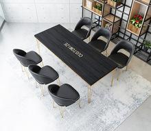 北欧时尚餐厅桌椅黑白色实木餐桌餐饮店休闲方桌奶茶店下午茶桌子