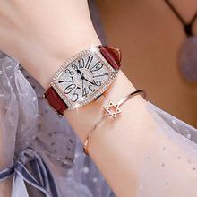 微信代发批发网红同款手表女男酒桶型时装表满钻防水石英表真皮带