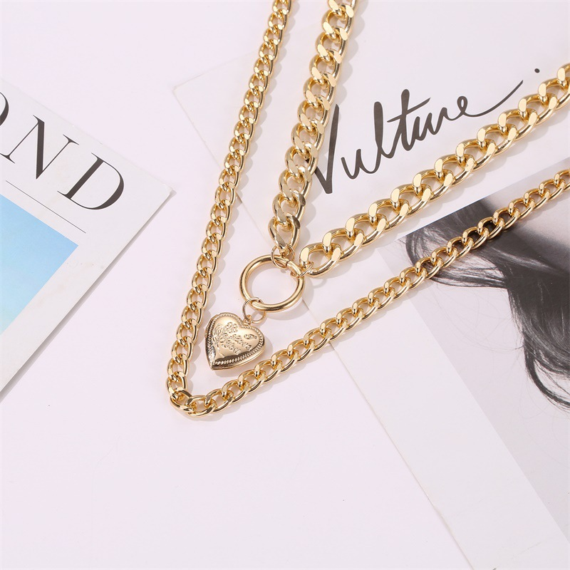 new style circle peach heart pendant necklace double-layer love pendant exaggerated thick chain necklace ladies sweater chain wholesale nihaojewelry NHCU232173