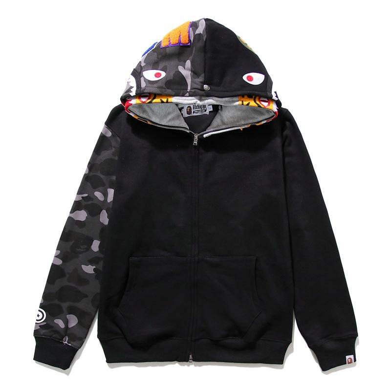 Bape A Bathing Ape Shark Tiger Head Jacket Camo Splice Hoodie Sweatshirt Coat