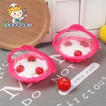 儿童小花篮蛋糕包装盒 儿童节奶油慕斯手提塑料花篮子4800/7500套