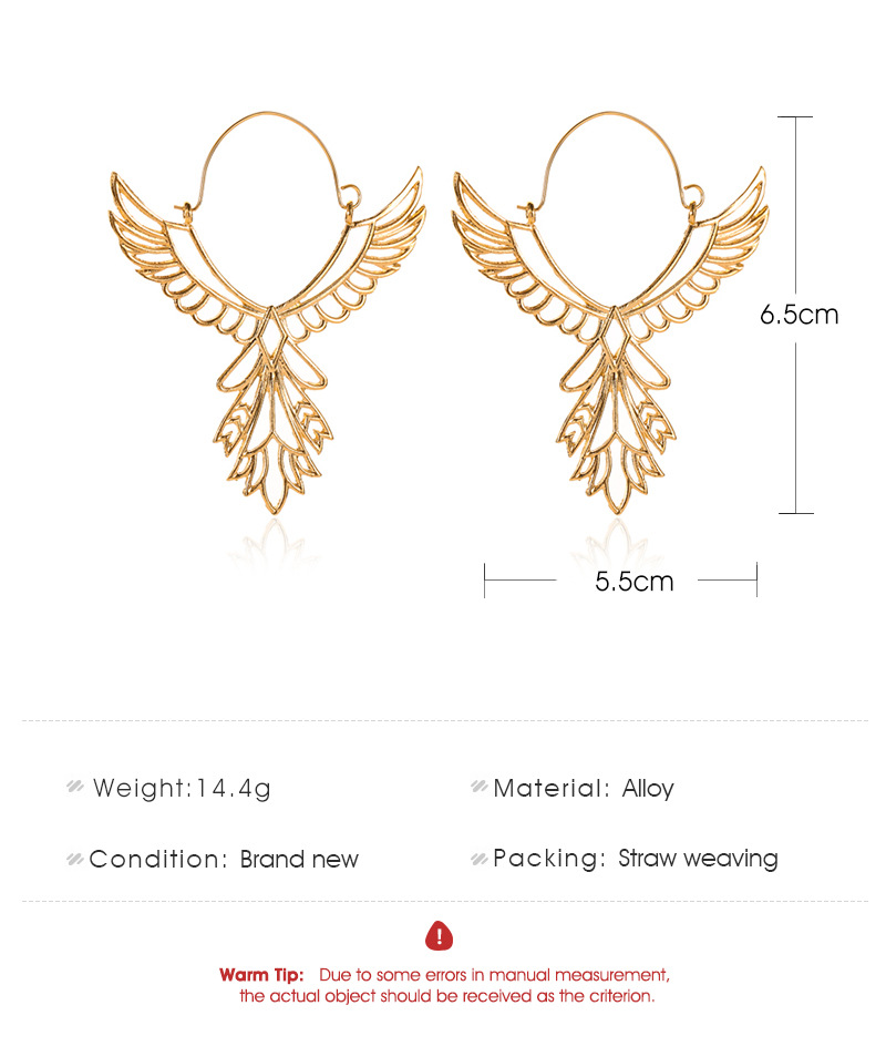 Angel Wings Earrings National Wind Hollow Eagle Earrings Peace Sign Stud Ear Accessories NHDP176389