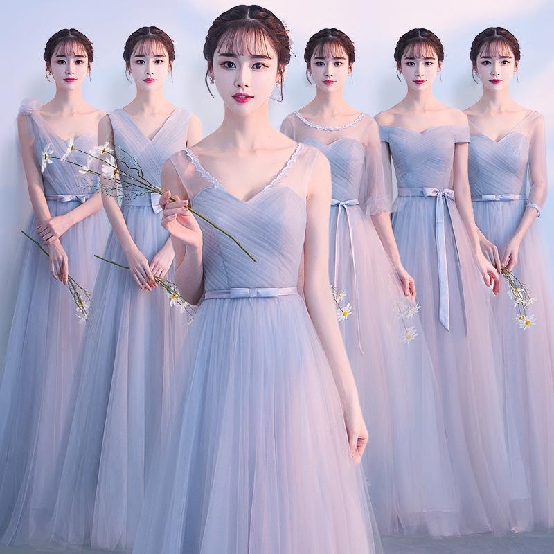 2020年长款伴娘服婚纱礼服显瘦时尚伴娘团姐妹装绑带时尚毕业礼服