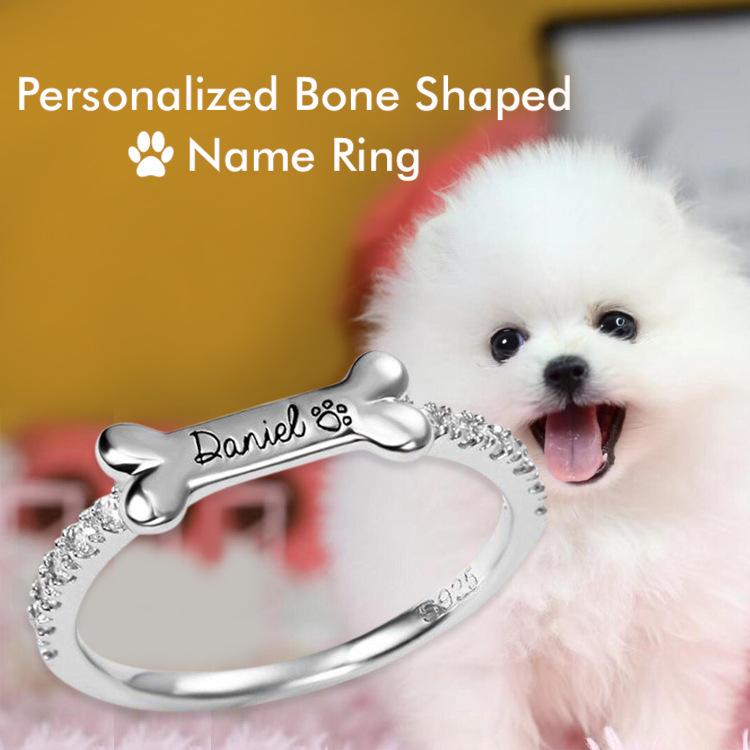 Custom Dog Name Bone Ring
