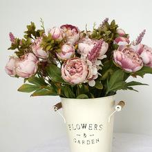 歐式包芯牡丹 仿真牡丹13叉假花把束婚禮裝飾家居擺設影樓拍攝