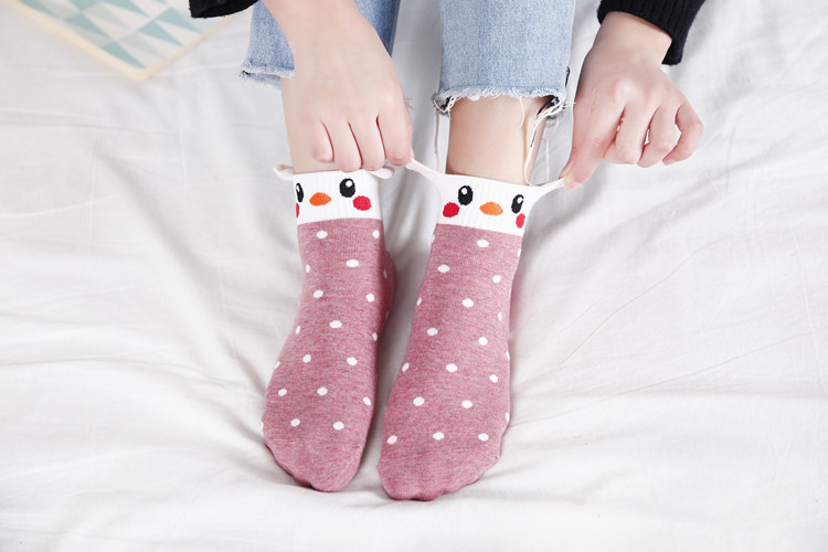 Spring casual female cotton socks wholesale stereo ears cartoon female socks cute color matching casual socks NHER206457