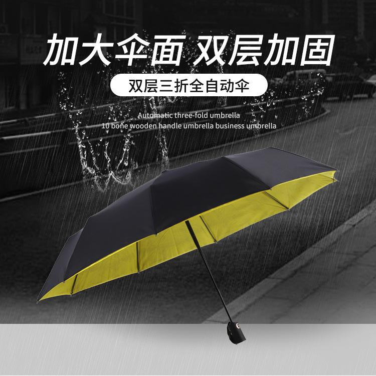 双层三折全自动伞 加大防风防雨礼品定制伞 商务促销晴雨伞批发