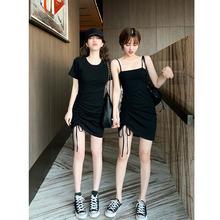 2019韩版新品性感黑色吊带连衣裙短袖圆领抽绳褶皱修身包臀短裙潮