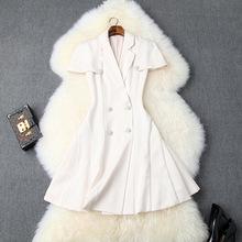2019秋季女裝新款西裝V領斗篷雙排扣鉆鏈小個子氣質連衣裙T10136