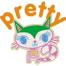 自主开发 猫类烫钻烫图 卡通猫服装图案 适用童装