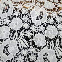 牛奶絲蕾絲繡花面料 水溶刺繡滿幅繡花布 荷花葉子鏤空 時裝配飾