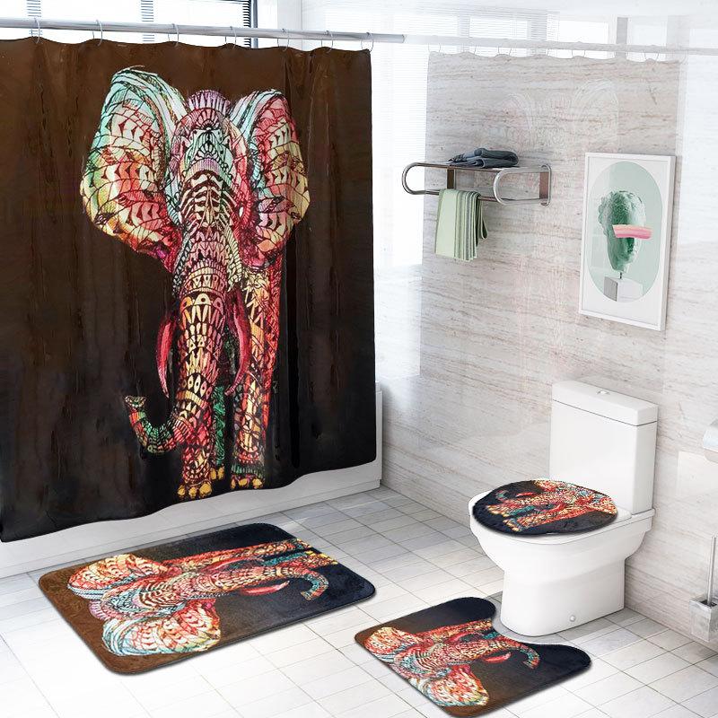 Elephant Shower Curtain Bathroom Set Flannel Mat Toilet Lid Cover Pedestal Rug
