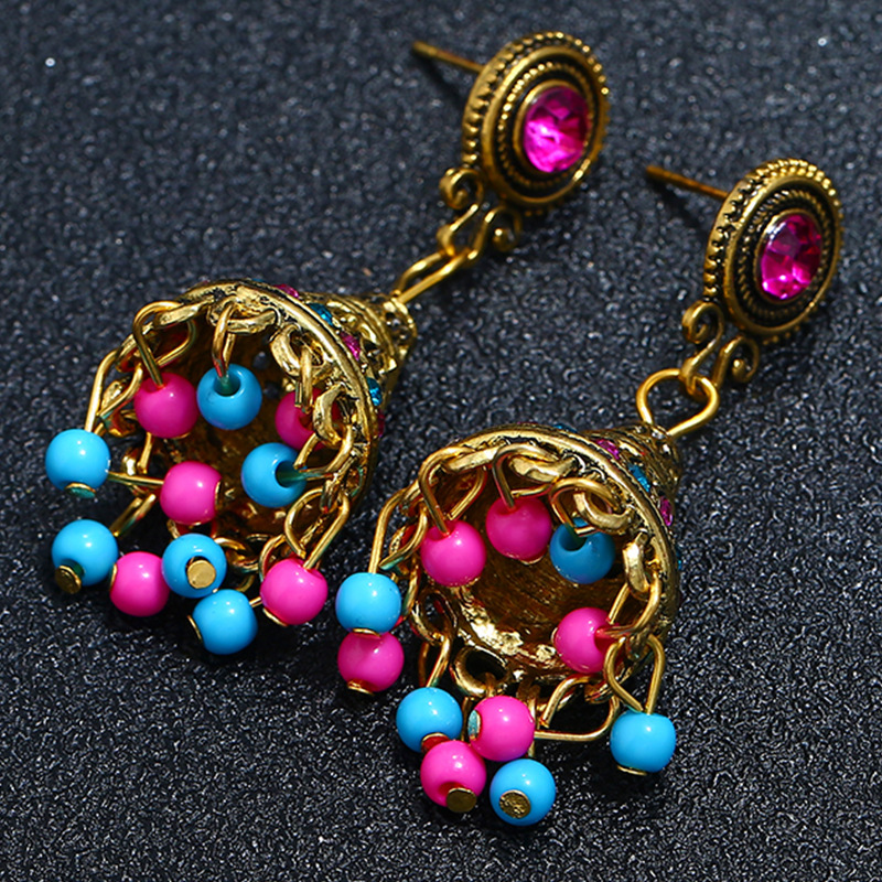 Alloy Bohemia Flowers earring  (Colorful ancient alloy)  Fashion Jewelry NHKQ2357-Colorful-ancient-alloy