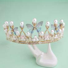 新款韩式新娘发饰王冠 合金镶水钻串水晶珠新娘手工皇冠配饰发箍